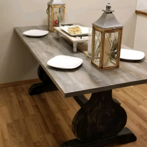 real wood handmade dining table ready to go