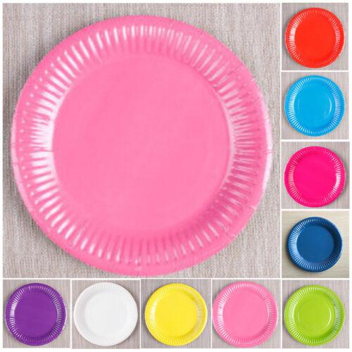 20pcs piatti di carta rotondi Tinte Unite PLASTICA CATERING festa di compleanno