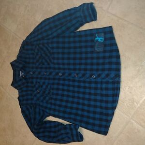 Boys Size 7/8 Navy and Black Checkered Long Sleeve dress Shirt