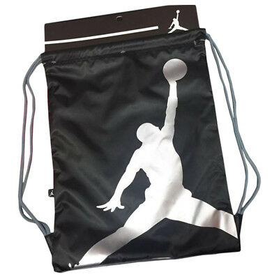 e1fa17265380d1 Nike Air Jordan Jumpman Gym Sack Drawstring Bag Backpack Black Silver  9A1940-023