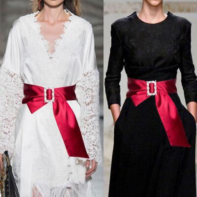 Women Satin Belt Glitter Crystal Buckle Waist Strap Shiny Corset Wide -