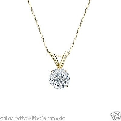 "1 Ct Round Brilliant Cut Solid 14k Yellow Gold Solitaire Pendant 18"" Necklace"