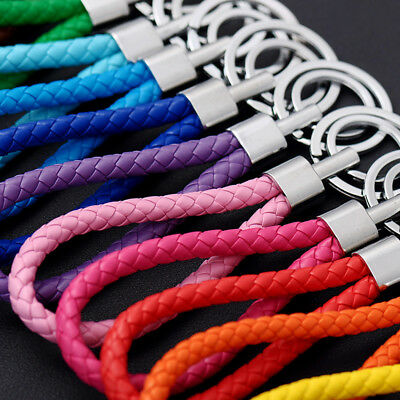 - Two Circle Multi-Color Leather Rope Strap Weave Key ring Key chain KeyFob Gift