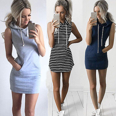 Women Sleeveless Hoodie Mini Dress Summer Casual Hooded Sweatshirt - Hood Dress