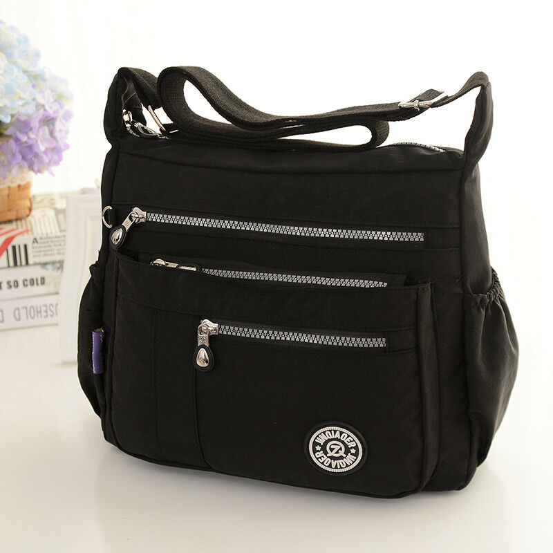 Women Messenger Bags For Mommy Waterproof Nylon Handbag Blac