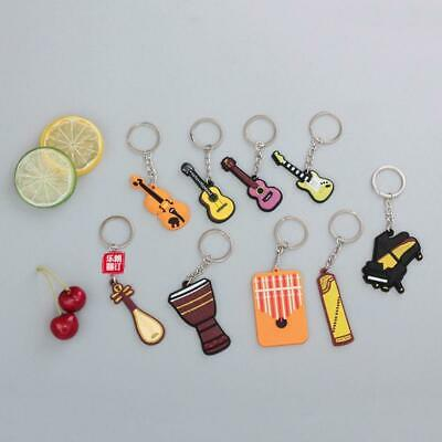 Soft Rubber Musical Instrument Key Ring Guitar/Piano/Violin/Ukulele Keychain Kit