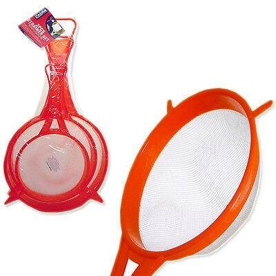Kitchen Food Strainer 3 Pc Set W/ Handle Fine Mesh Rubber Strainer Colander