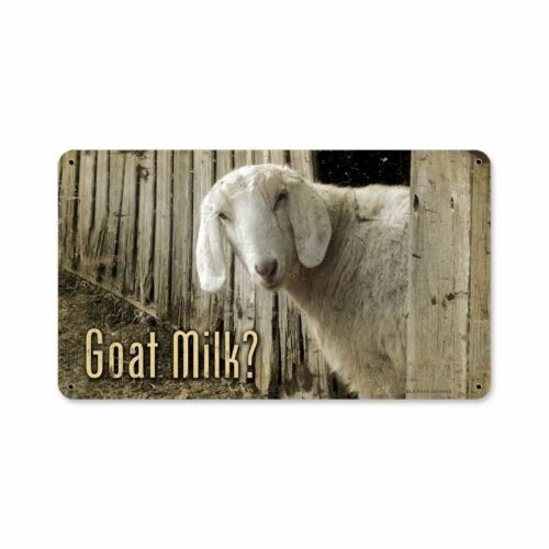 GOAT MILK? GOAT PEEKING OUT OF BARN HEAVY DUTY USA MADE METAL ADVERTISING SIGN