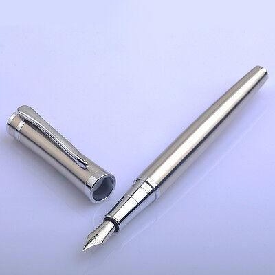 1× Classic Baoer 3035 Stainless Metal Silver Medium Nib Fountain Pen Chic Gift
