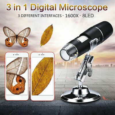 1600x Handheld Digital Microscope 8led Usb Endoscope Zoom Camera Magnification