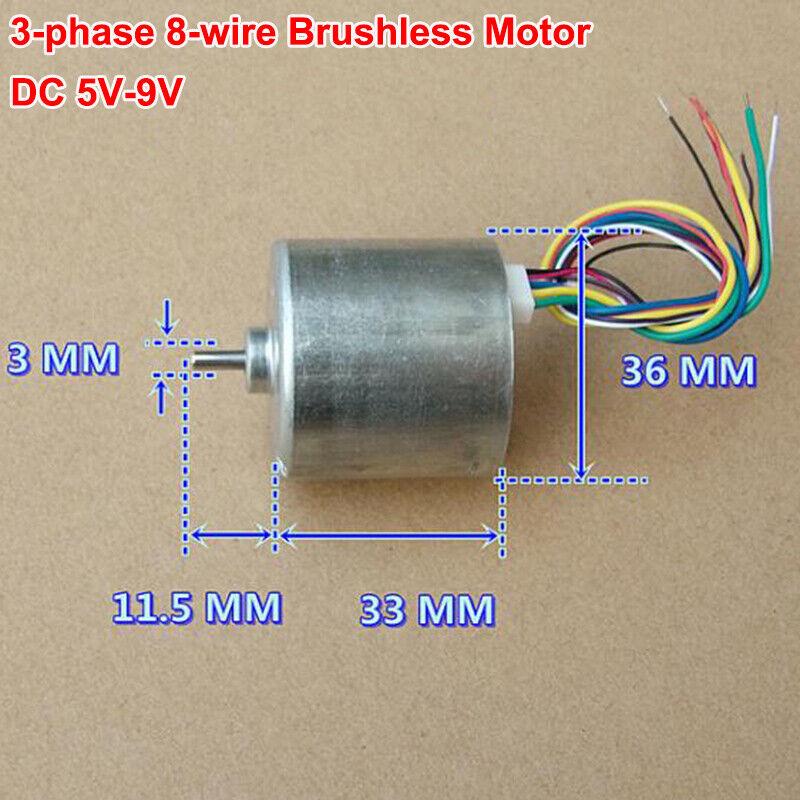 Micro Mini 36mm DC Brushless Motor 3-phase 8-wire Hall Sensor DC 6V-9V 7600RPM