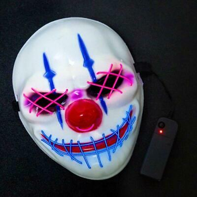 Big Mouth Halloween (Halloween Scary Big Mouth Clown Glowing Mask LED Cold Light Horror Dress)