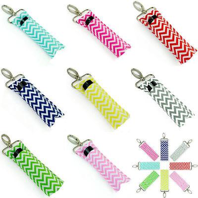 Women Wave Fashion Key Chain Lip Balm Chapstick Lipstick Holder Wristlet Ring@