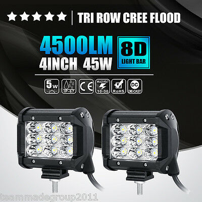 2PCS TRI ROW 4INCH 45W CREE LED WORK LIGHT BAR FLOOD OFFROAD DRIVING PICKUP SPOT