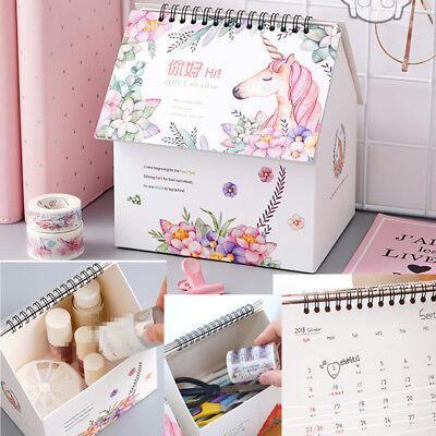 2018 - 2019 Unicorn Desktop Flip Calendar Stand Up Table Planner Office Desk