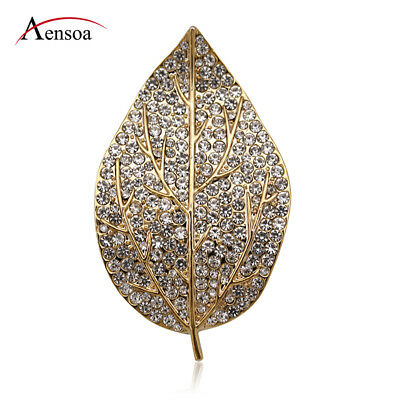Fashion Women Crystal Rhinestone Gold Leaf Plant Brooch Pin Jewelry Party Gift