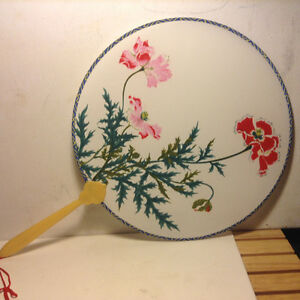 Vintage Chinese Silk Screen Round Paddle Fans