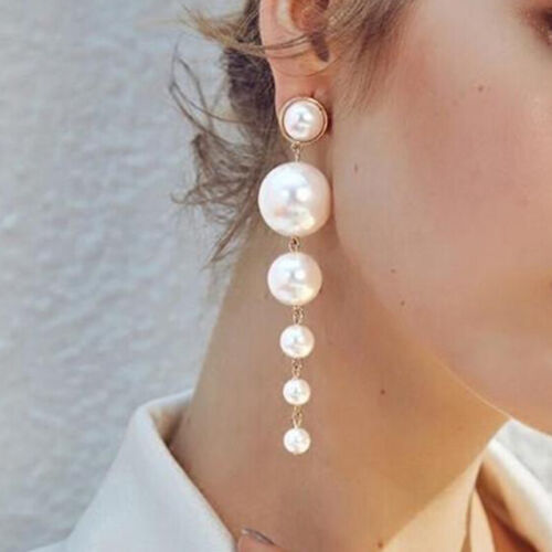 Jewellery - Long Dangle Drop Pearls Earring Gold Exaggerate Big ZARA Jewellery New Fashion F