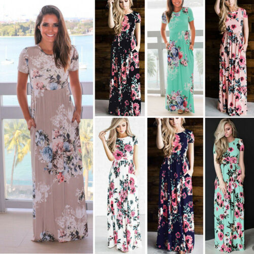 Womens Summer Boho Floral Long Maxi Dress Cocktail Party Eve