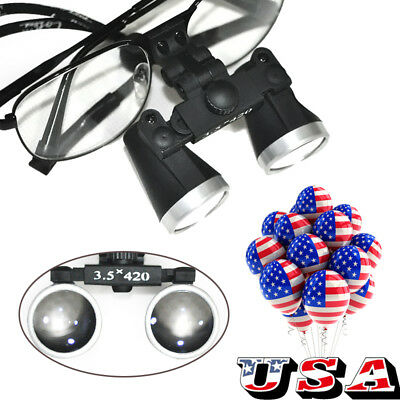 Us Ship Dental Surgical Binocular Loupes 3.5x 420mm Metal Optical Glass Loupe Ce