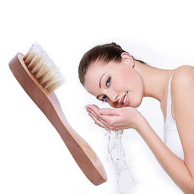 Wooden Bristle Face Body Cleaning Facial Wash Brush Exfoliating Skin Care