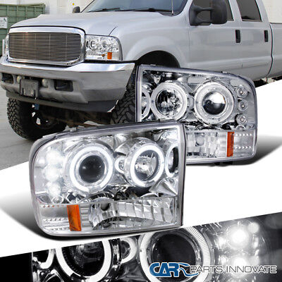99-04 Ford F250 F350 F450 F550 Super Duty LED Halo Projector Headlights Clear for sale  Shipping to Canada