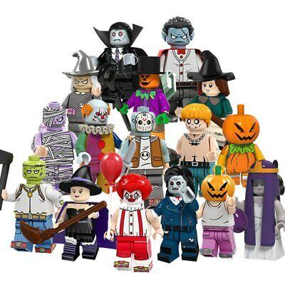 16 Pcs Set For Lego Halloween Mini Figure Skeleton Zombie Ghosts Pumpkin Gift