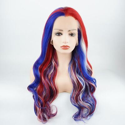 Meiyite Hair Wavy Long 24inch Blue and White and Red Mix Lace Front - Red And White Wigs