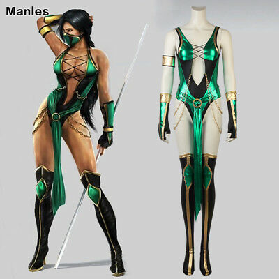 Mortal Kombat X Jade Costume Karate Cosplay Ninja Halloween Women Fancy Dress
