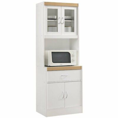Hodedah Kitchen Cabinet with 1 Drawer plus Space for Microwave in White Wood