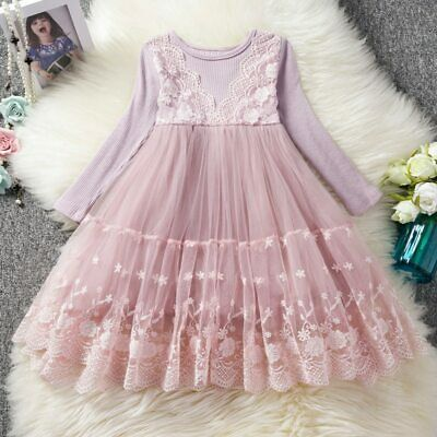 Kids clothing long sleeve lace dresses for 3-8Y girls little girl party dress