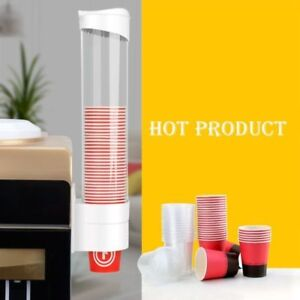 Paper Cup Dispenser Plastic Cups Holder One Touch Button Anti Dust 5-7.5cm Cup