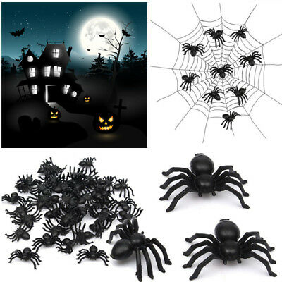 Halloween Plastic Spiders (50x Black Plastic Fake Spiders Trick Toys Halloween Party Funny Joke)