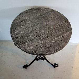 Silver & black side table / cast iron legs