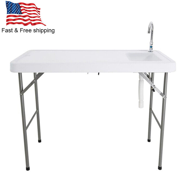 Outdoor Portable Camping Folding Table with Sink Faucet Fish Fillet Table 46 in