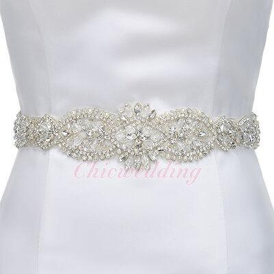 Wedding Satin Sash Belt Vintage Rhinestone Beaded Crystal Handmade Bridal Belt