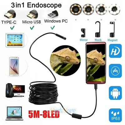 Waterproof 5m 8led Borescope Endoscope Snake Inspection Camera For Android Pc