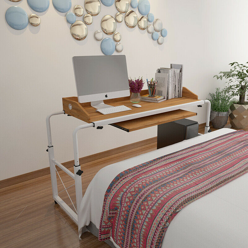 Peachy Details About Adjustable Rolling Overbed Mobile Compueter Desk Laptop Table Tray Hospital Home Download Free Architecture Designs Lukepmadebymaigaardcom
