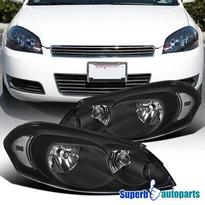 2006-2013 Chevy Impala/ 2006-2007 Monte Carlo Headlight Black w/ Clear Reflector