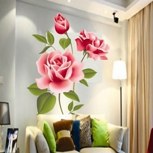 Home Decoration - Rose Flower Wall Stickers Removable Decal Home Decor DIY Art Decoration T5 Sale