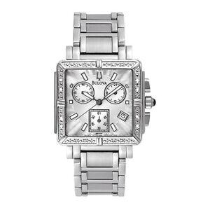 Bulova 96R000 S/S Case & Band Diamond Chronograph Silver Dial Ladies Wristwatch
