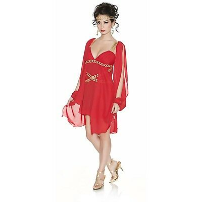 Lady Grecian GODDESS IN RED Costume Greek Roman Dress Adult Medium Large 6 8 10 (Greek Lady Costume)