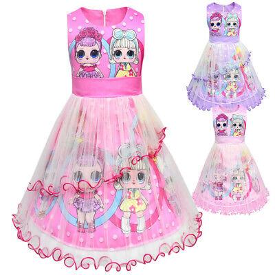 rls  Mädchen Geburtstag Kleid Mesh Prinzessin Kleid party DE (Geburtstag Kleid Mädchen)