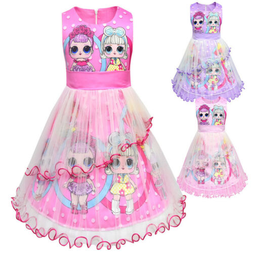 LoL Surprise Doll Girls  Mädchen Geburtstag Kleid Mesh Prinzessin Kleid party DE
