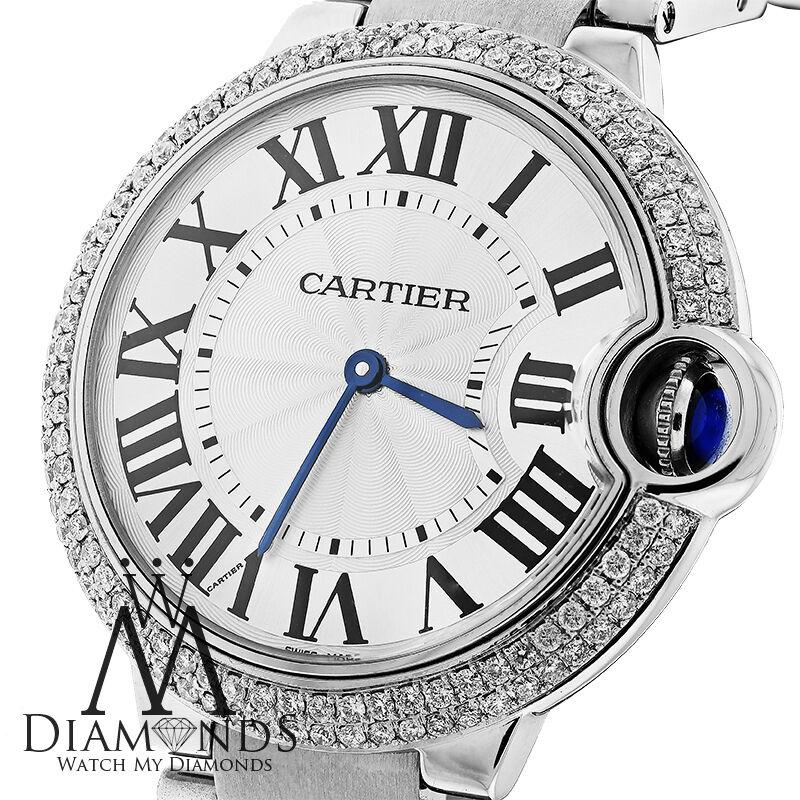 Cartier Ballon Bleu W69011Z4 Watch Pave Diamond Bezel Box&Papers 37mm MidSize - watch picture 1