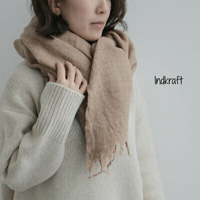 New Indkraft Coffee Brown Pure Wool Gauze Scarf RRP$162+