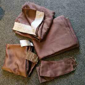 Brand new chocolate thermal blackout curtains and cushion covers set