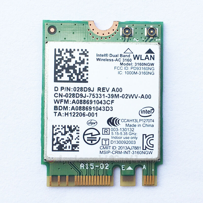 Intel Dual Band Wireless Ac 3160 3160ngw Ngff Bluetooth 4