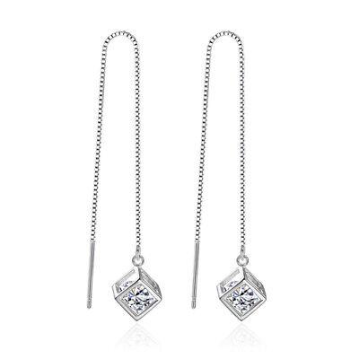 Cube Sterling Silver Earrings - 925 Sterling Silver Crystal Cube Drop Earrings Ear Line For Women Party Jewelry