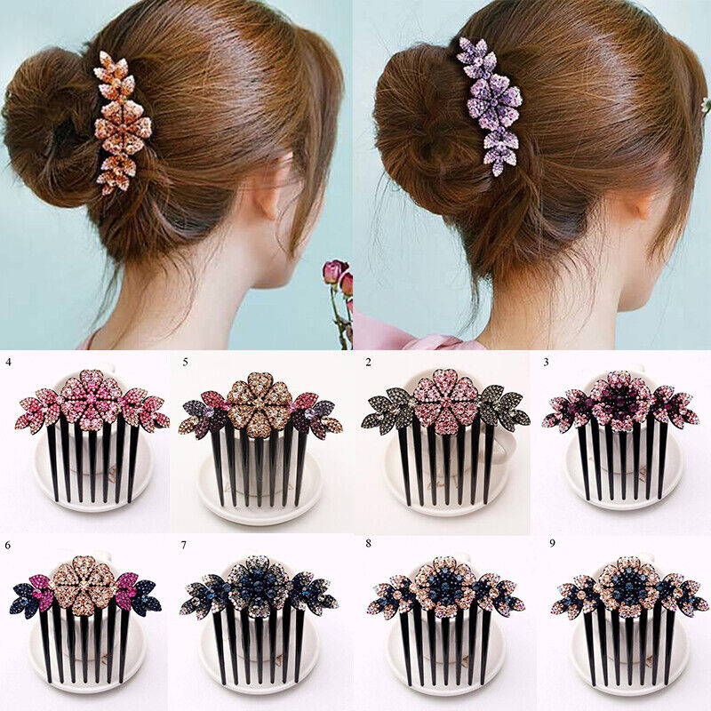 Crystal Rhinestone Flower Hair Comb Hairpins Bridal Women Headpieces Hairdresser